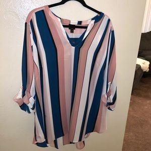 Worthington 3/4 Sleeve Rose Stripe Blouse - 3x